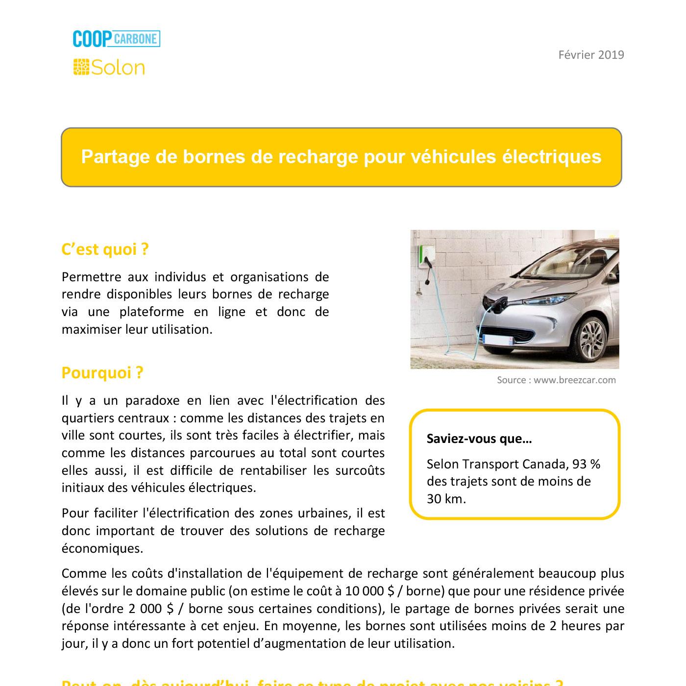 partage de bornes pour voitures électriques