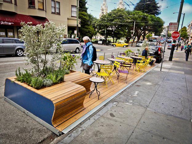 stationnement transformé en espace convivial